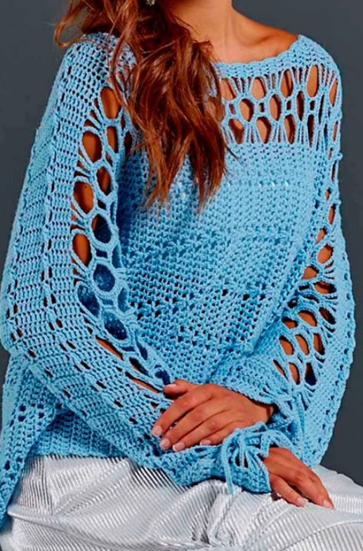 Пуловер крючком 2018