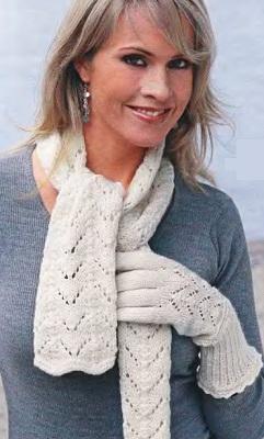 Ажурный шарф и перчатки