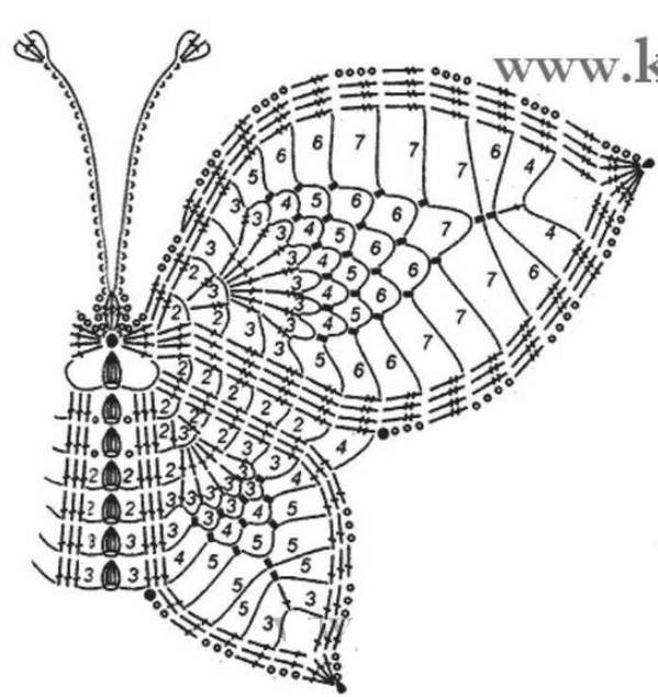 Схемы бабочек крючком