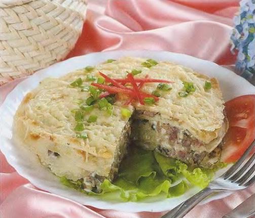 Блинный торт с грибами и мясным фаршем