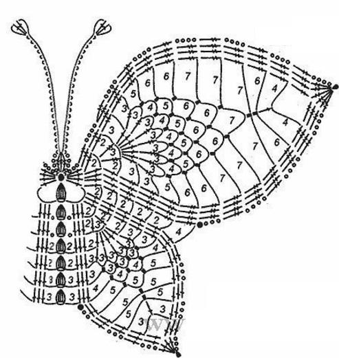 Болеро с узором Бабочка крючком