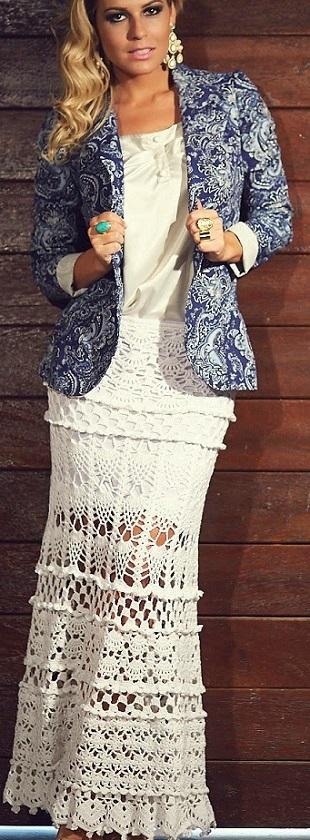 Вязание длинной юбки
