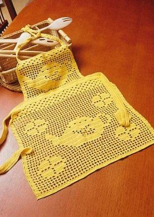Фартук филейным вязанием