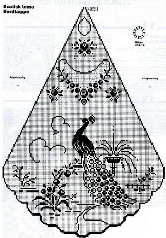 Филейное вязание павлинов