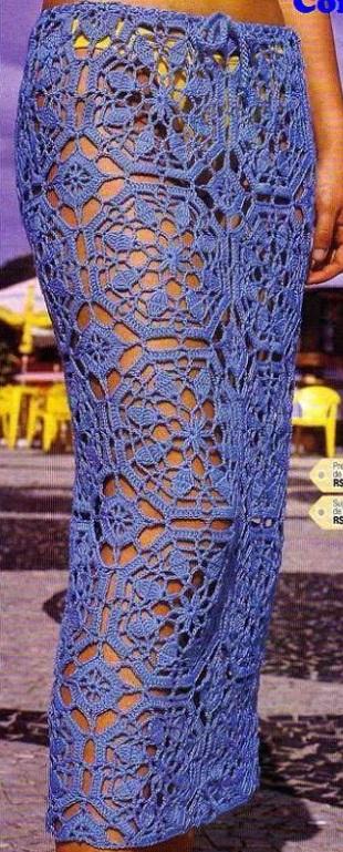 Как связать длинную юбку