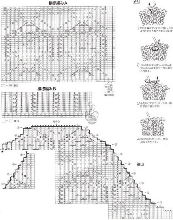 Схема вязания кофты спицами