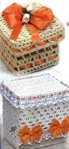 Вязаные коробки