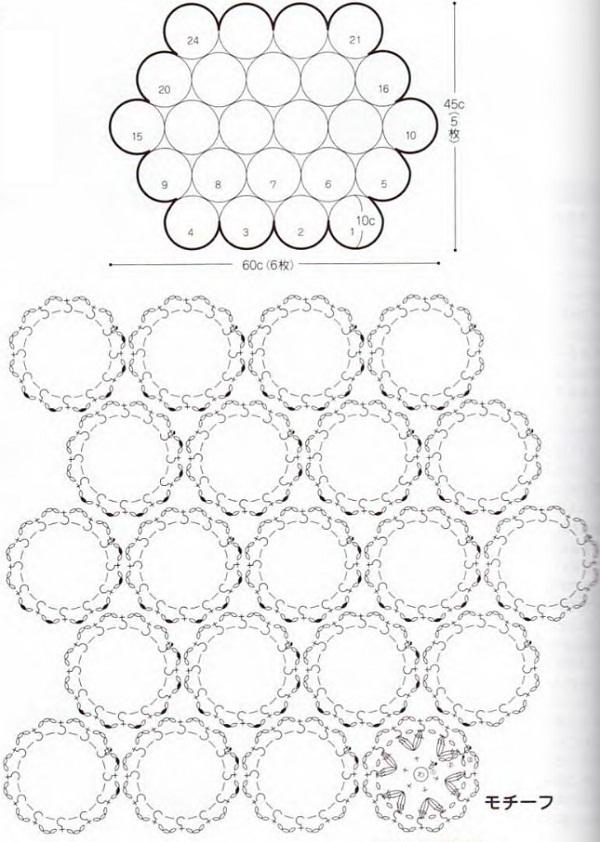 Коврик из круглых мотивов крючком