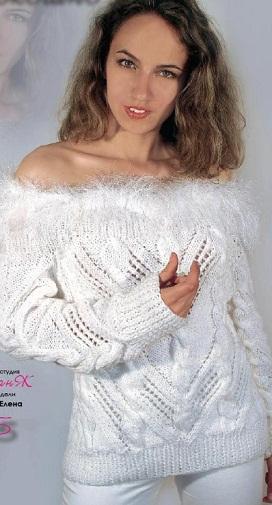 Пуловер спицами для женщин
