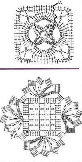 Вязание квадратных мотивов