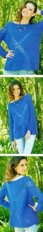 Модный пуловер крючком