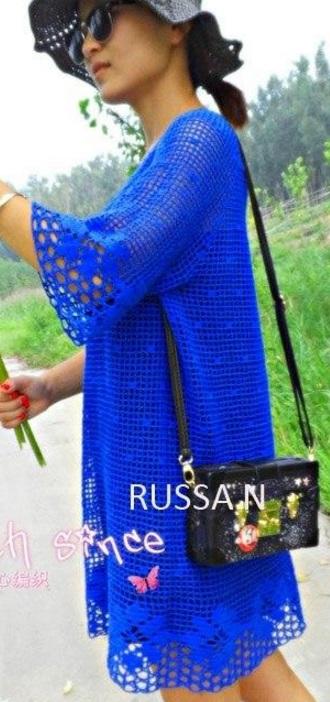 Платье филейным узором крючком