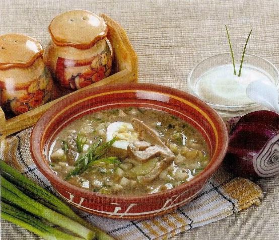 Окрошка с овощами и грибами