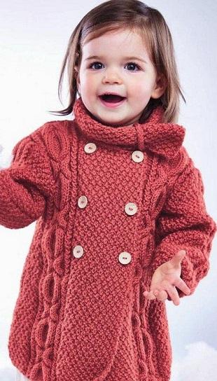 Пальто для девочки спицами