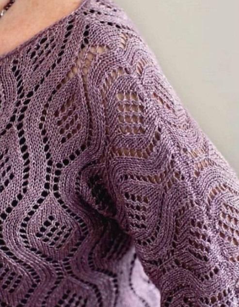 Пуловер для полных спицами
