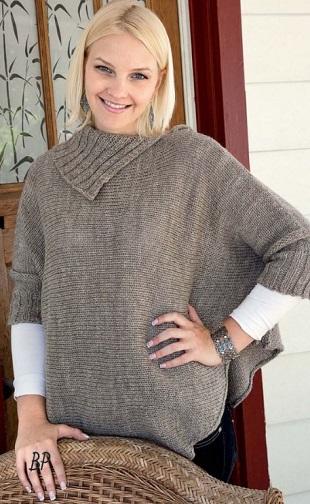 Пуловер-пончо спицами