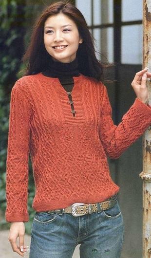 Вязаный пуловер с пугавицами