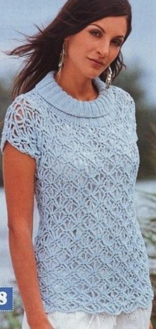 Пуловер с воротником крючком