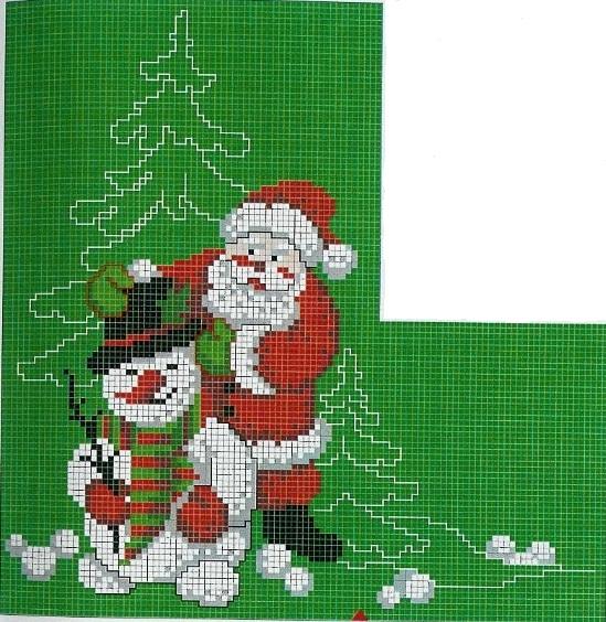 Новогодний сапожокВышивка Дед Мороз