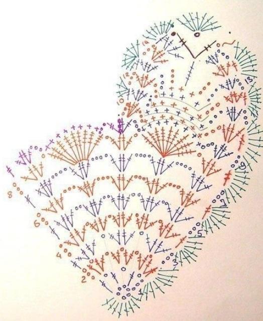 Схема сердечка крючком