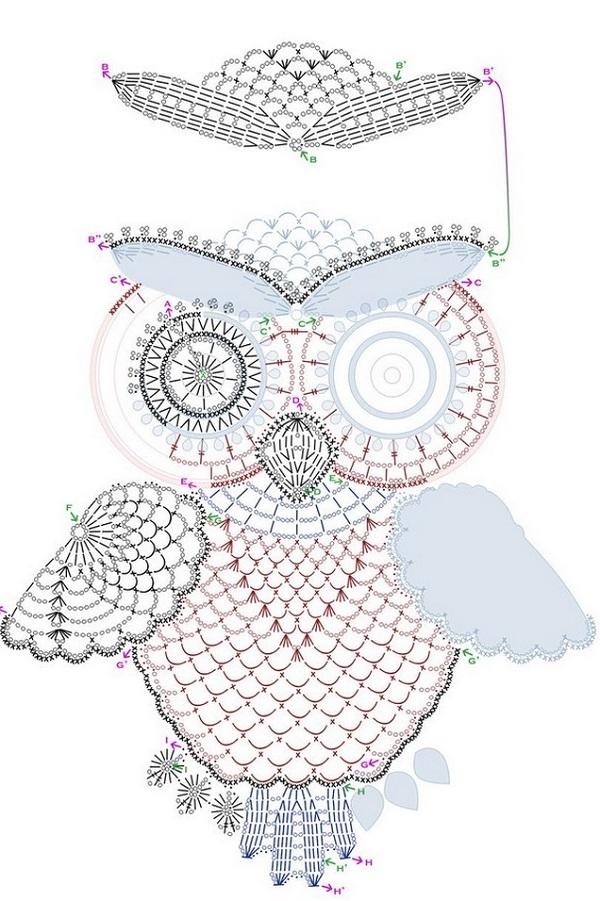Схема совы крючком