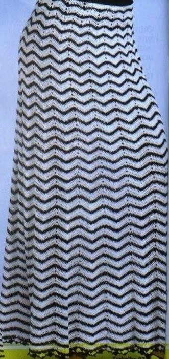 Юбка с узором зиг-зак крючком