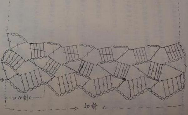Узор для шарфа крючком